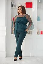 """Брючный женский костюм-тройка """"DOLLA"""" с блузой из органзы (большие размеры), фото 2"""
