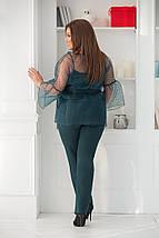 """Брючный женский костюм-тройка """"DOLLA"""" с блузой из органзы (большие размеры), фото 3"""