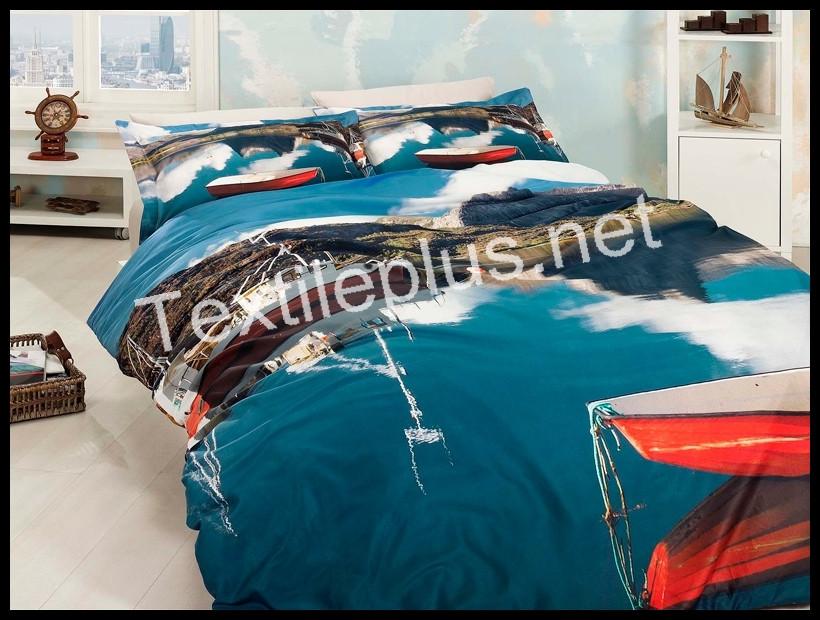 Комплект постельного белья 3D сатин Rowing Турция (kod 3125)