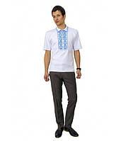 Мужская вышитая футболка крестиком «Ромбы» с воротником