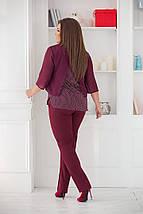 """Женский брючный костюм """"YANNEL"""" с блузой в горошек (большие размеры), фото 3"""