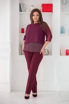 """Женский брючный костюм """"YANNEL"""" с блузой в горошек (большие размеры), фото 2"""