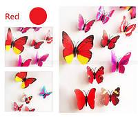 3D Стикеры бабочки наклейки с магнитами и с наклейкой на стену красные 12штук набор