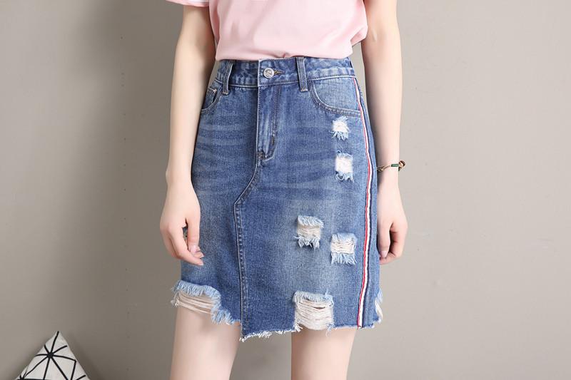 acefa768d96 Джинсовая юбка с лампасами и потертостями - Strelecia - интернет-магазин  женских сумок