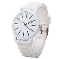 Женские часы GENEVA Женева с белым циферблатом, силиконовый браслет (белый), часы женские на ремешке