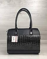 Черная сумка-саквояж 32008 женская овальная с ремешком на плечо, фото 1