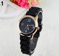 Женские кварцевые часы GENEVA Женева с силиконовым ремешком черные, женские часы фирмы