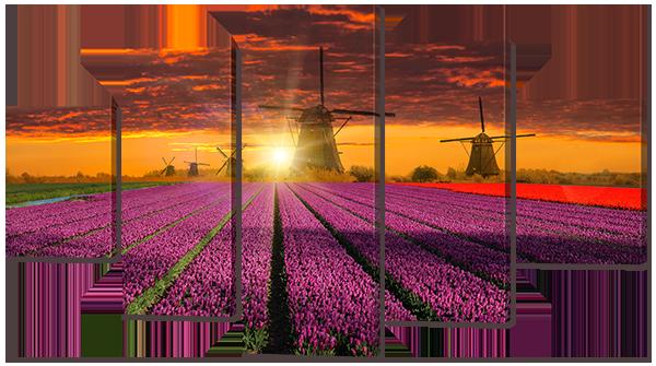 Модульная картина Interno Холст Поле цветов 185х106см (R825XXL)