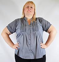 Блуза женская серо-синяя, большой размер, 54-62 р-ры, фото 1