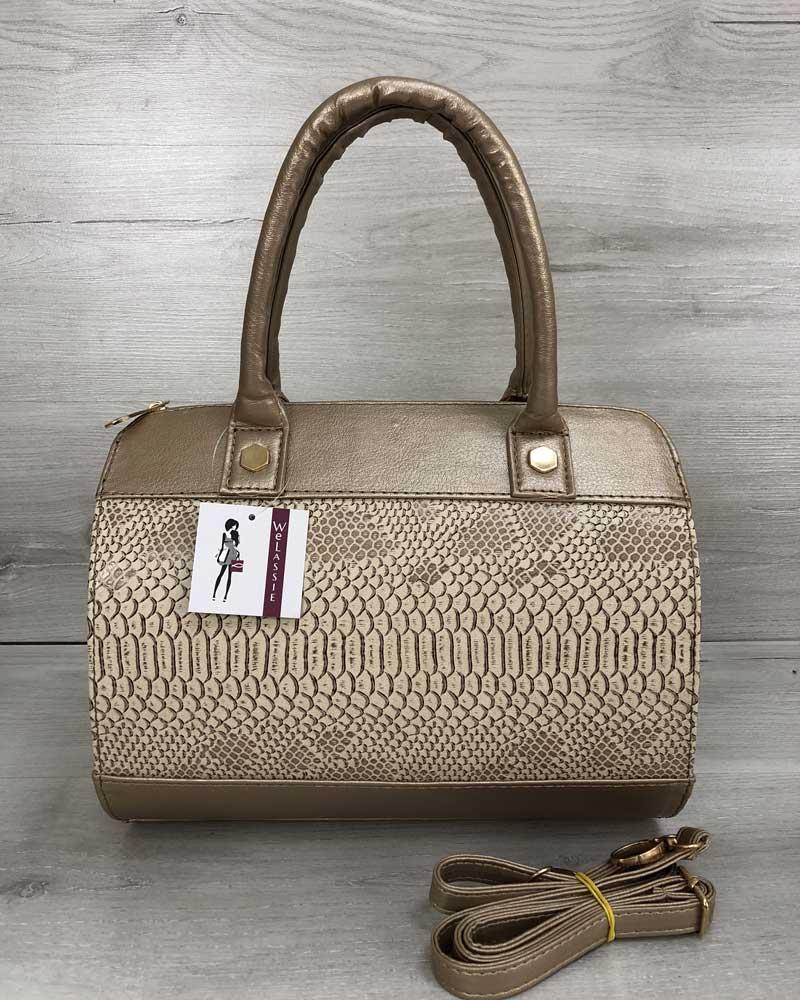 7a4859d28ed6 Золотистая сумка-саквояж 32001 овальная с бежевой вставкой под крокодила,  фото 1