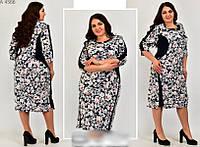 Женское платье с цветочным принтом большого размера, с 52 по 66 размер, фото 1