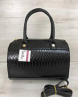 Черная женская сумка саквояж ручная с длинным ремешком на плечо 32004, фото 1