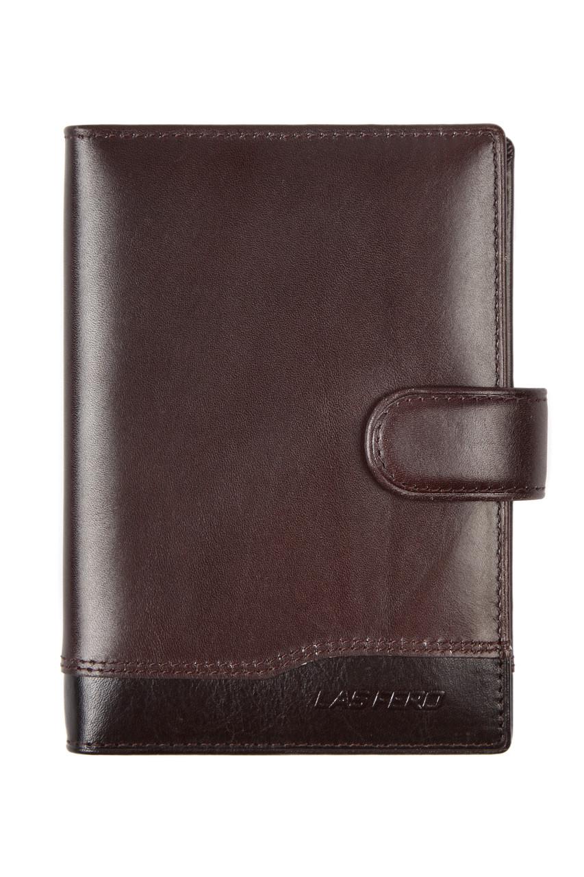 Бумажник мужской кожаны LAS FERO 100х140х20 застёжка кнопка м Л42-190Акор