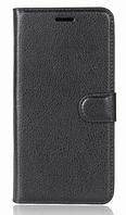 Кожаный чехол-книжка для Huawei Y7 черный