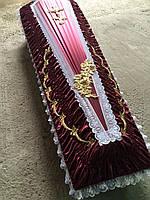 Гроб - драпировка атлас (бордо) сайт:  Orfey1.com