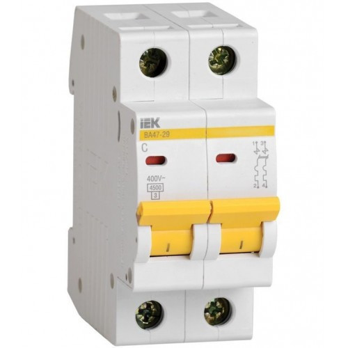 Автоматический выключатель IEK ВА47-29 2P 25A х-ка C
