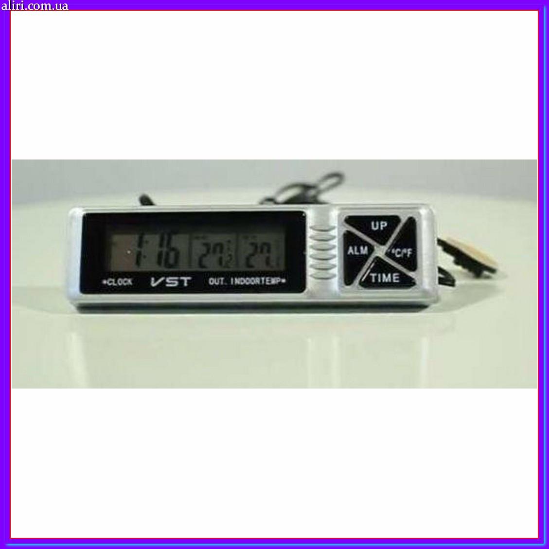 Автомобильные часы с термометром и будильником vst 7066