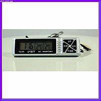 Автомобильные часы с термометром и будильником vst 7066, фото 1