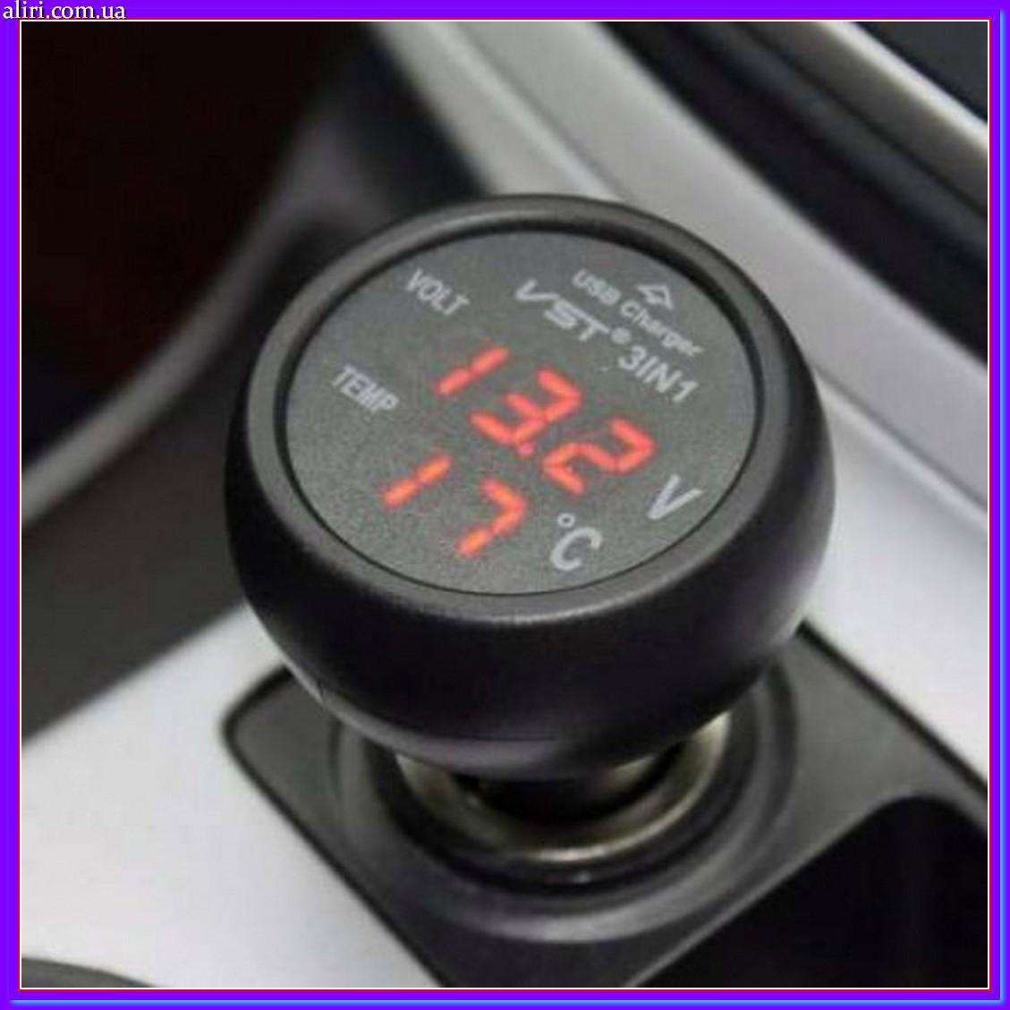 Автомобильный термометр вольтметр - USB VST 706-1