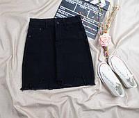 Джинсовая юбка черная стрейч
