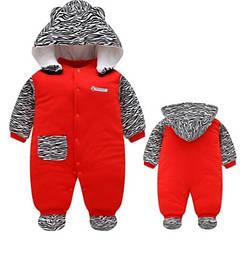 Стильный детский комбенизон (красный с зеброй)