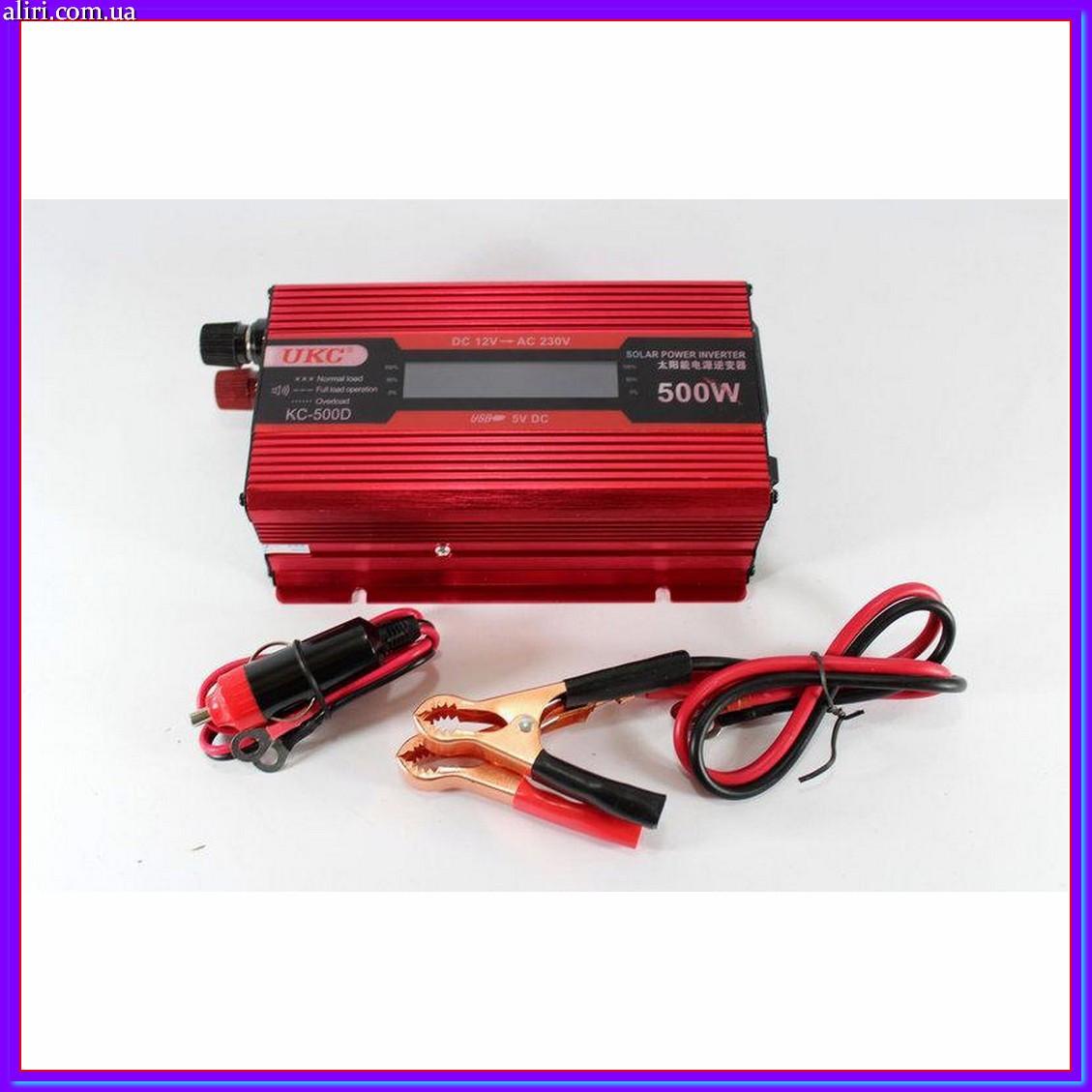 Преобразователь тока инвертор AC/DC UKC 500W KC-500D с LCD дисплеем с 12 вольт на 220 вольт