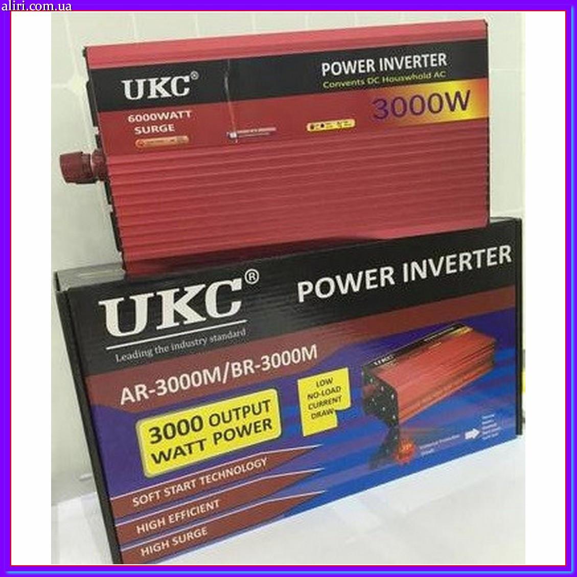 Преобразователь инвертор из 12В в 220В UKC AC/DC AR 3000W