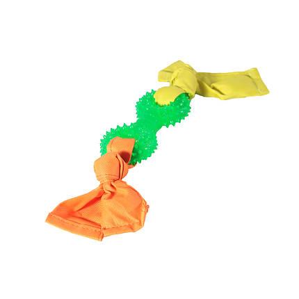 Игрушка для собак Гантель кольца с лентами нейлона TPR 11,5*32 см, фото 2