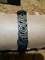 Кожаный браслет унисекс Love, фото 1