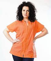 Блузка оранжевая, хлопок, р-ры 44,48,50 размеры, фото 1