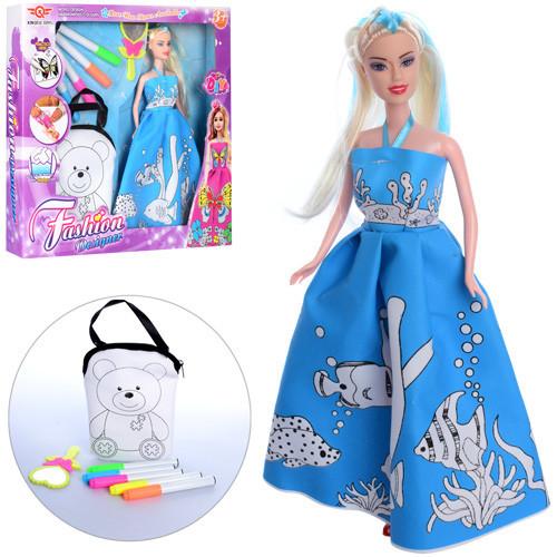 Лялька 6618-3 сумка і сукня-розмальовка, фломастери 5 шт., дзеркало, в коробці, 34,5-31,5-5 см