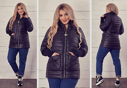 """Женская стильная куртка на синтепоне демисезон в больших размерах 144 """"Плащёвка Рукава Рибана"""" в расцветках"""