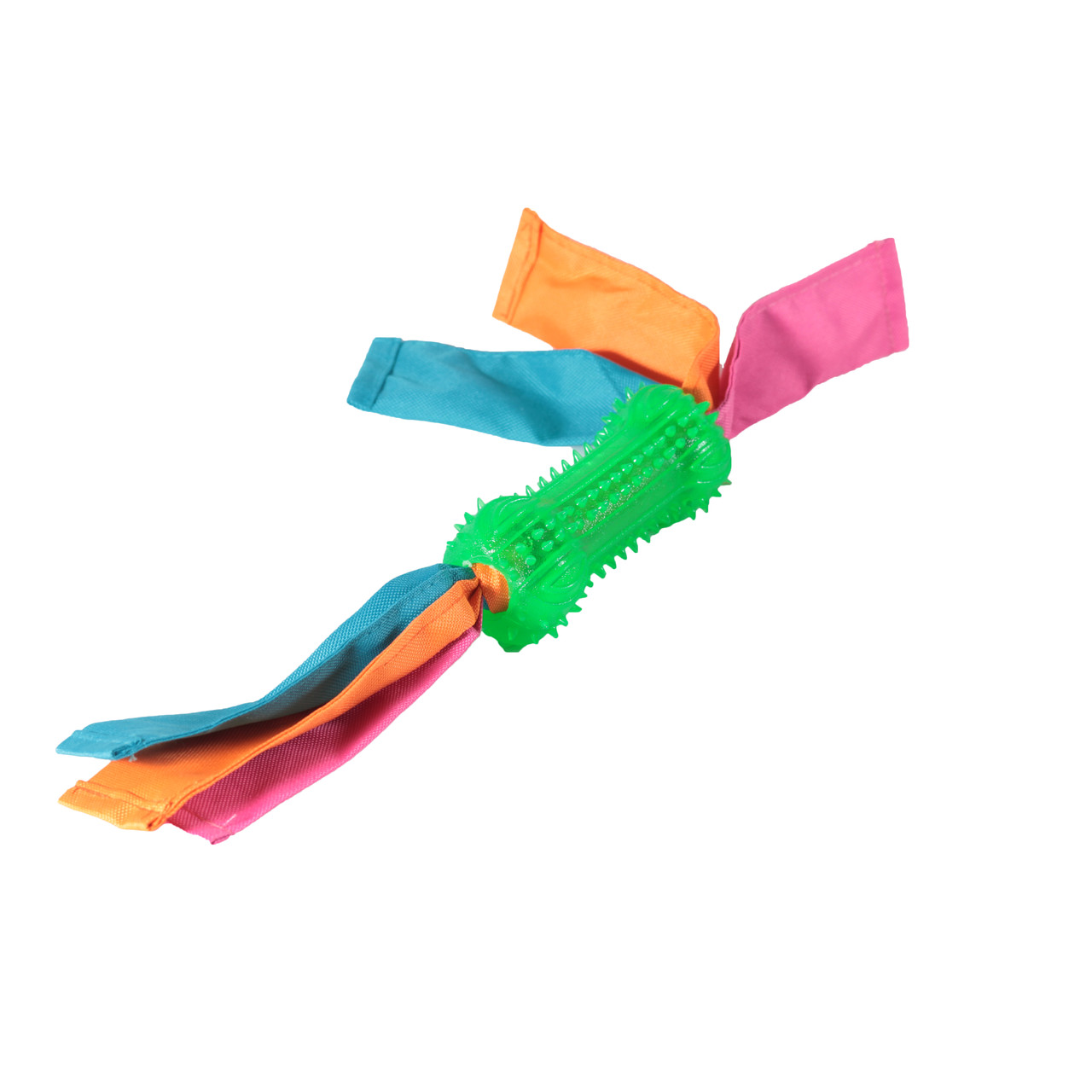 Игрушка TPR для собак FOX гантелька шипированная с лентами нейлоновыми, 12х38 см