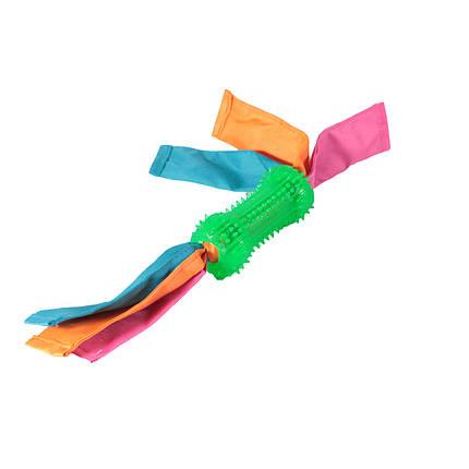"""Игрушка TPR для собак ТМ """"FOX""""  Гантелька шипированная с лентами нейлоновыми 12*38 см, фото 2"""