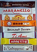 Сахар порционный с логотипом, 5 г, сахар в стике (саше, квадрат, пакетик, стик), фасованный сахар с логотипом