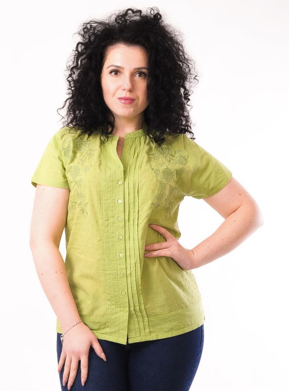 Блузка салатовая, хлопок, 46 размер, фото 1