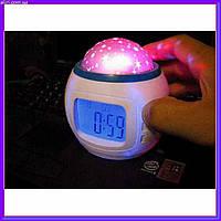 Музыкальные часы с будильником. проэктор звездного неба