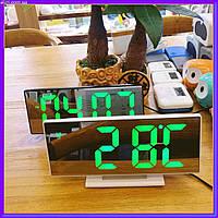 Зеркальные настольные LED часы DS-3618L зеленная подсветка, Электронные часы с термометром