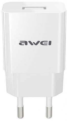 Зарядний пристрій Awei C-810 з кабелем microUSB (1USB 2.4A) Білий, фото 2