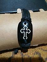 Кожаный браслет крест, фото 1