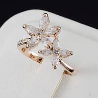 Прекрасное кольцо с кристаллами Swarovski, покрытие золото 0566