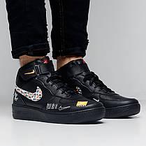 Кроссовки мужские Nike Air Force just do it high черные топ реплика, фото 3