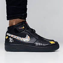 Кроссовки мужские Nike Air Force just do it high черные топ реплика, фото 2