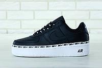 Мужские кроссовки Nike Air Force 1 '07 SE Premium черные на белой подошве топ реплика