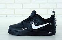 Мужские кроссовки Nike Air Force 1 '07 LV8 Utility черные белый знак топ реплика