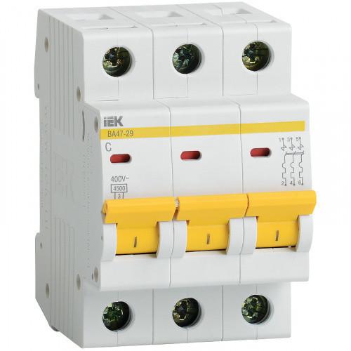 Автоматический выключатель IEK ВА47-29 3P 25A х-ка C