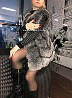 Меховая  жилетка Ника из искусственного эко - меха чернобурки XL, XXL, 3XL, 4XL