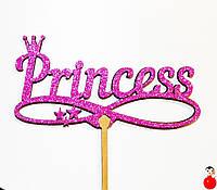 ТОППЕР ДЕРЕВЯННЫЙ PRINCESS Принцессе с Глиттером Блестящий РОЗОВЫЙ Топперы для Торта Топер дерев'яний, фото 1