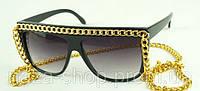 Модные женские солнцезащитные Очки Chanel с цепочкой сонцезахисні окуляри