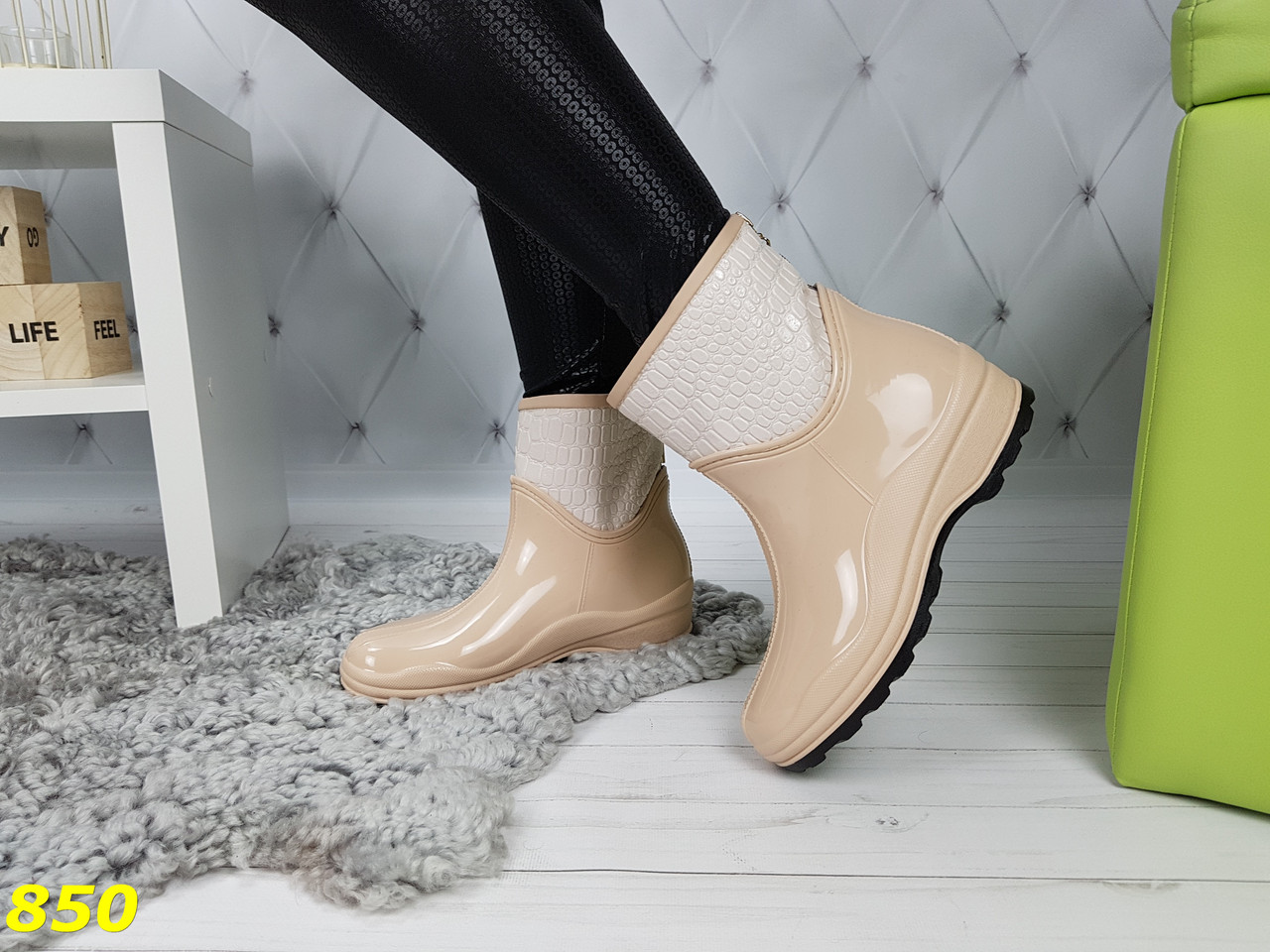 cb834d5bd Полусапожки Ботинки Резиновые Утепленные Непромокаемые Бежевые — в ...